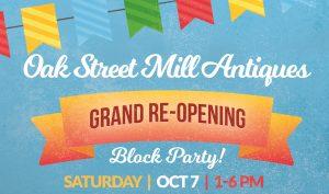 Oak St Mill Antiques Grand Re-Opening Block Party @ Oak St Mill   Cornelius   North Carolina   United States
